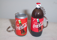 Coke Can (4cm) and Bottle (6.5cm) Keyring