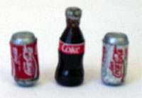 Tiny Coke Bottle and Can
